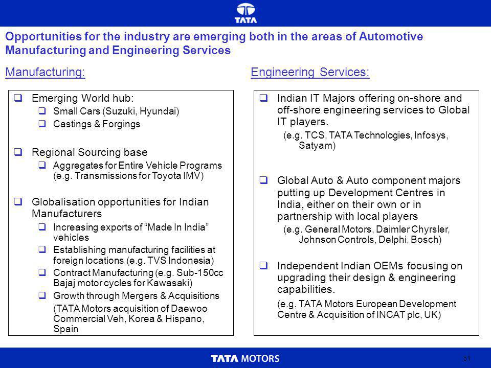 51 Opportunities for the industry are emerging both in the areas of Automotive Manufacturing and Engineering Services Manufacturing: Emerging World hub: Small Cars (Suzuki, Hyundai) Castings & Forgings Regional Sourcing base Aggregates for Entire Vehicle Programs (e.g.