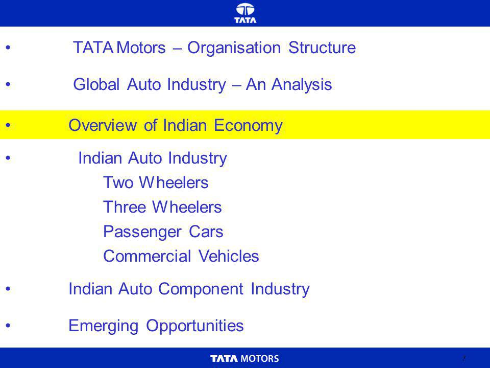 7 Global Auto Industry – An Analysis Indian Auto Industry Two Wheelers Three Wheelers Passenger Cars Commercial Vehicles Indian Auto Component Industry Emerging Opportunities Overview of Indian Economy TATA Motors – Organisation Structure
