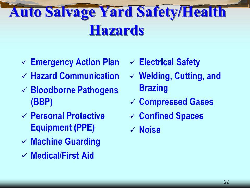 21 Auto Salvage Yard Safety/Health Hazards