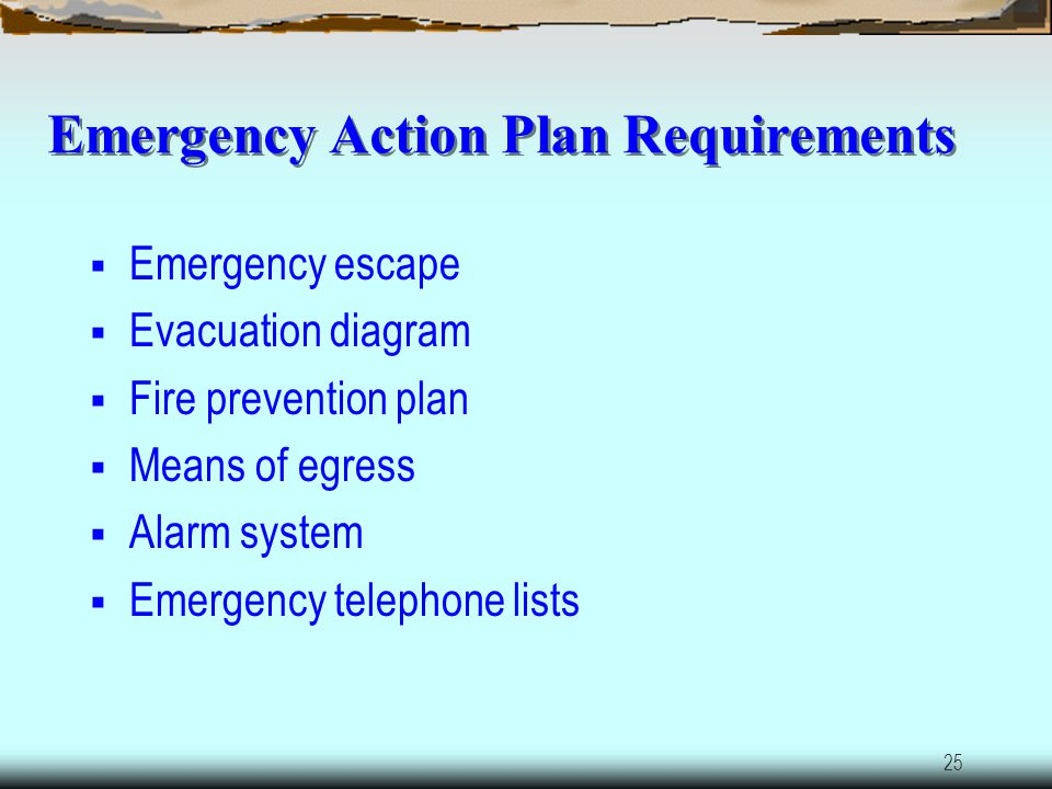 24 Emergency Action Plan Purpose: To protect the employees from serious injury, property loss or life in the event of major disaster like Fire Tornado