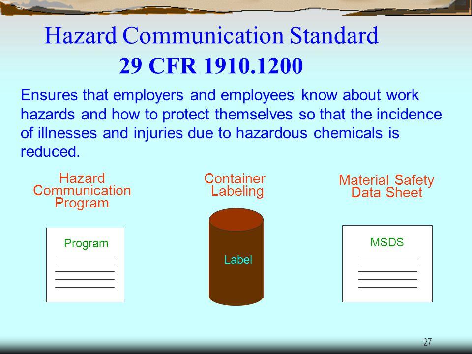 26 Hazard Communication 29 CFR 1910.1200