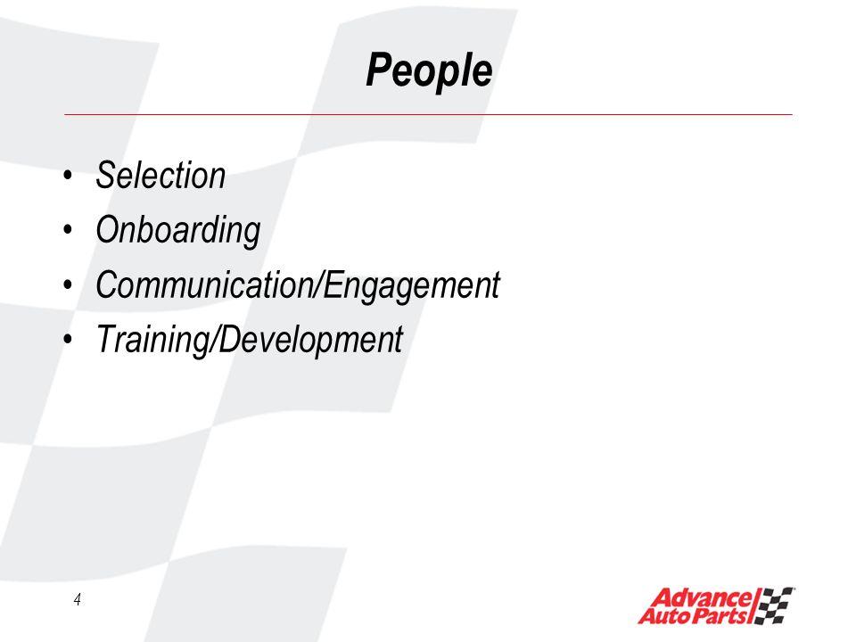 4 People Selection Onboarding Communication/Engagement Training/Development