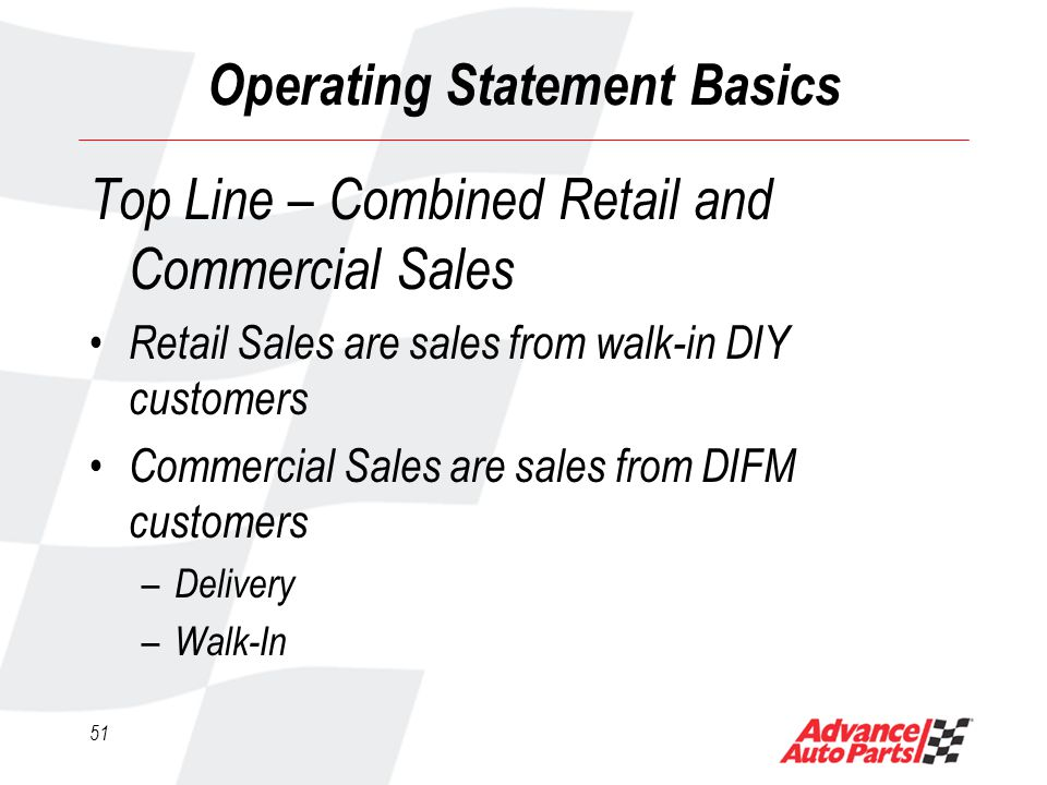 50 Operating Statement Basics Flow Through Flow through is a term used to describe the profit you earn on the bottom line from incremental top line sales For every dollar over budget in sales, 30% should drop directly to the bottom line