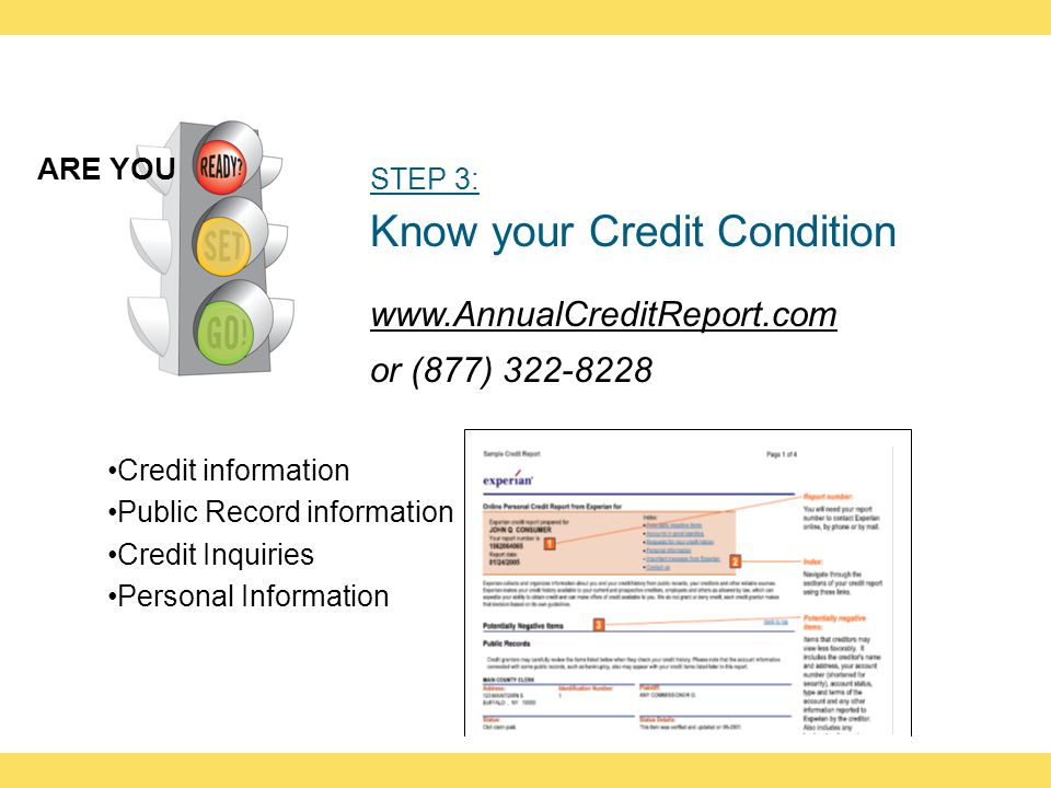 STEP 3: Know your Credit Condition www.AnnualCreditReport.com or (877) 322-8228 ARE YOU Credit information Public Record information Credit Inquiries Personal Information