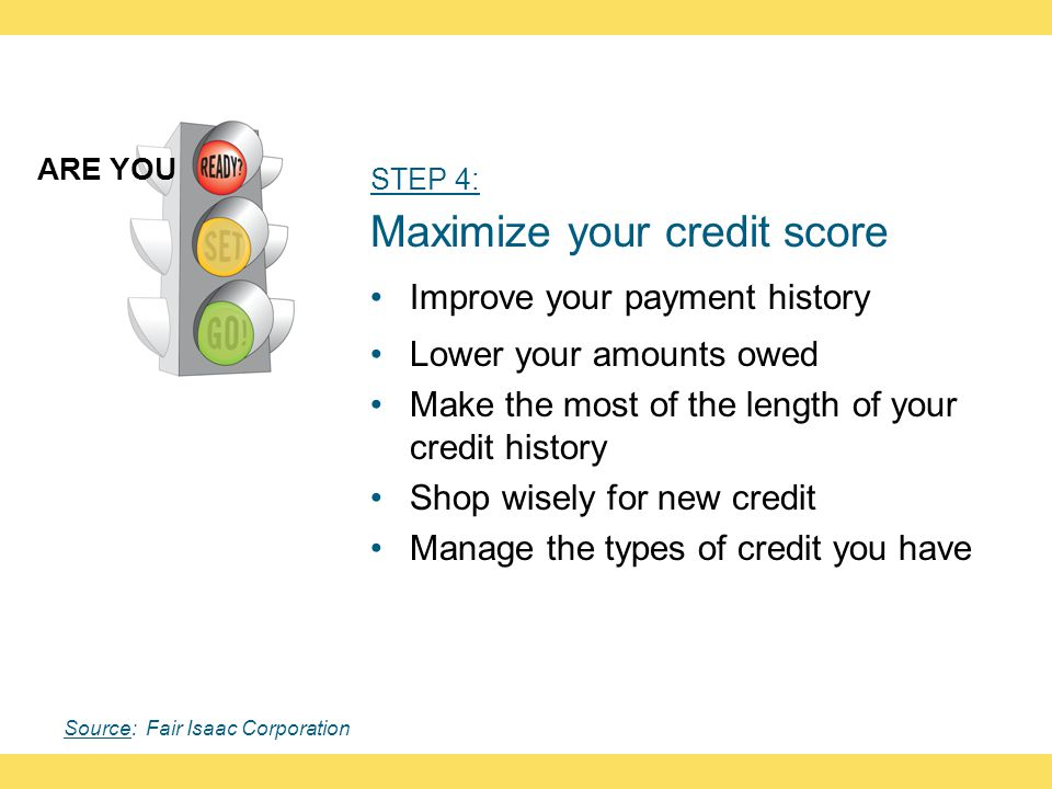 STEP 4: Maximize your credit score Improve your payment history Lower your amounts owed Make the most of the length of your credit history Shop wisely for new credit Manage the types of credit you have ARE YOU Source: Fair Isaac Corporation