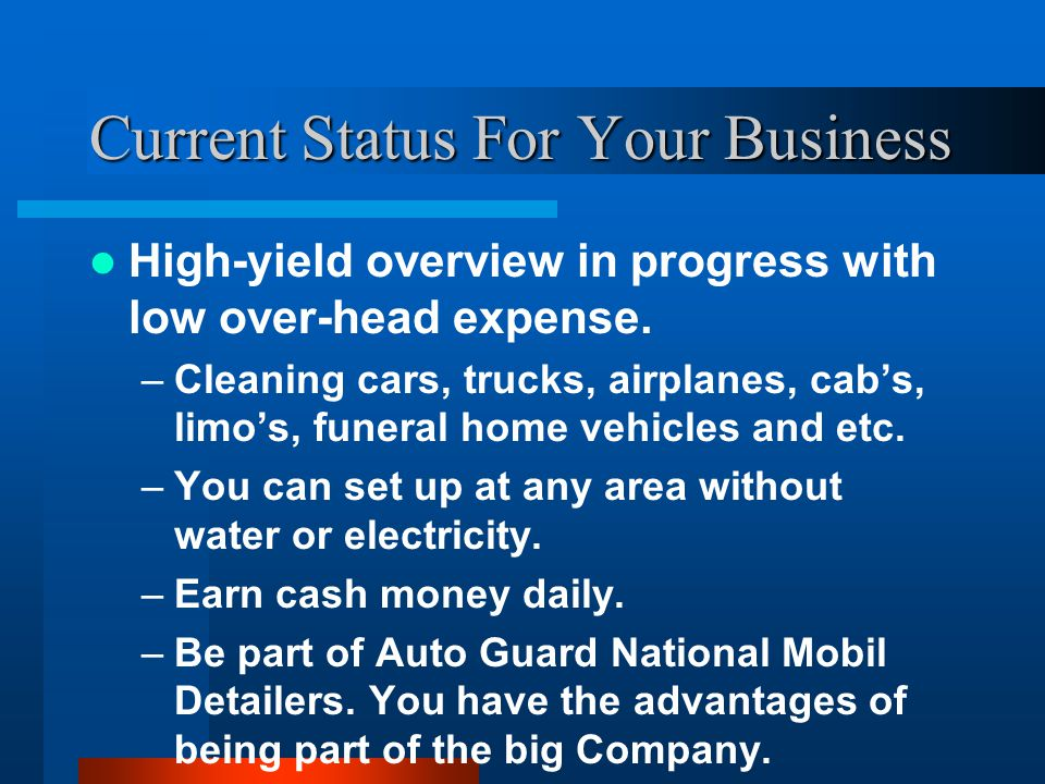 Current Status For Your Business High-yield overview in progress with low over-head expense.
