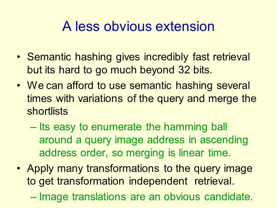 A less obvious extension Semantic hashing gives incredibly fast retrieval but its hard to go much beyond 32 bits. We can afford to use semantic hashin