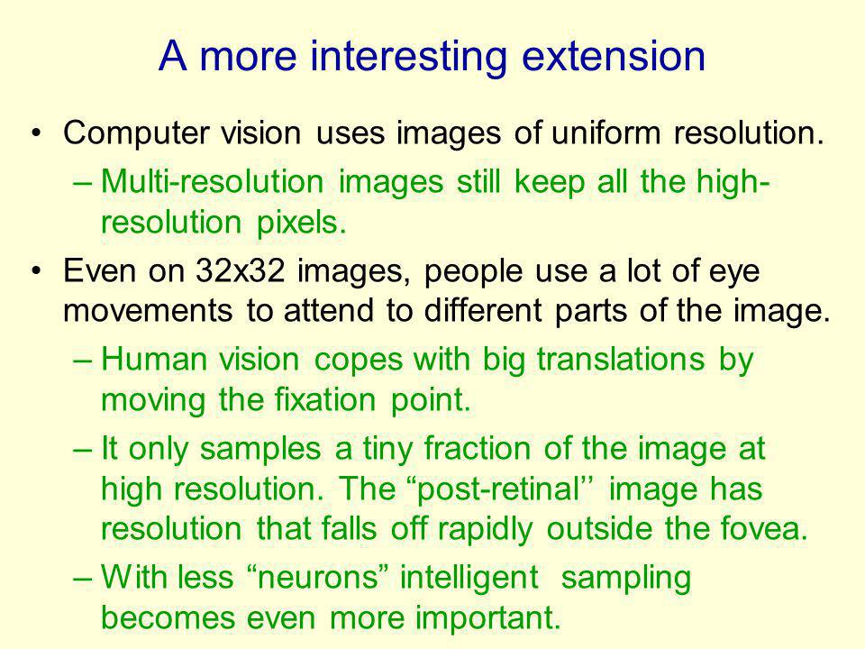 A more interesting extension Computer vision uses images of uniform resolution. –Multi-resolution images still keep all the high- resolution pixels. E