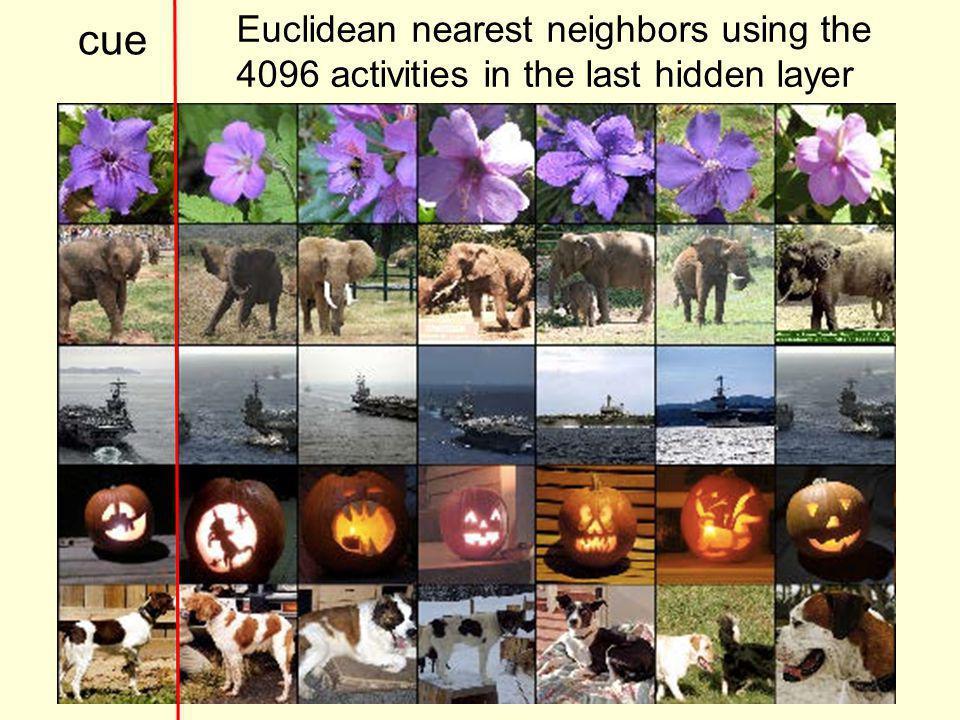 cue Euclidean nearest neighbors using the 4096 activities in the last hidden layer