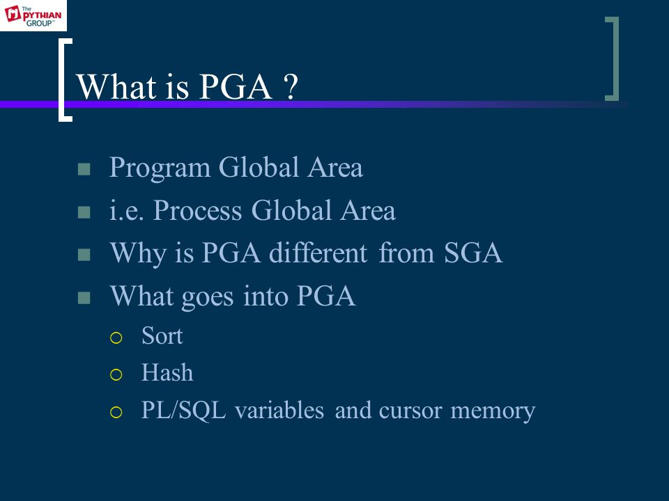 What is PGA . Program Global Area i.e.