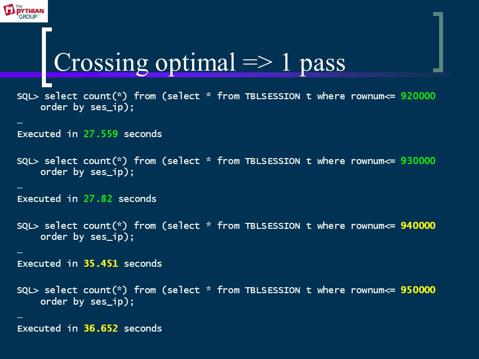 Crossing optimal => 1 pass SQL> select count(*) from (select * from TBLSESSION t where rownum<= 920000 order by ses_ip); … Executed in 27.559 seconds SQL> select count(*) from (select * from TBLSESSION t where rownum<= 930000 order by ses_ip); … Executed in 27.82 seconds SQL> select count(*) from (select * from TBLSESSION t where rownum<= 940000 order by ses_ip); … Executed in 35.451 seconds SQL> select count(*) from (select * from TBLSESSION t where rownum<= 950000 order by ses_ip); … Executed in 36.652 seconds
