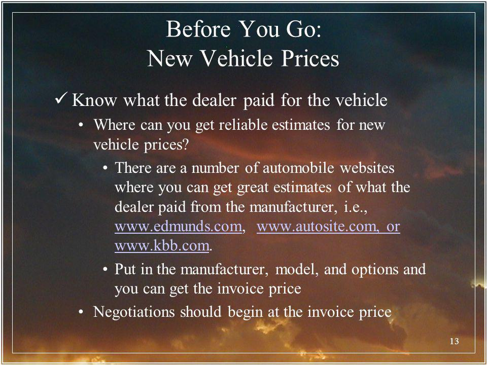 13 Know what the dealer paid for the vehicle Where can you get reliable estimates for new vehicle prices? There are a number of automobile websites wh