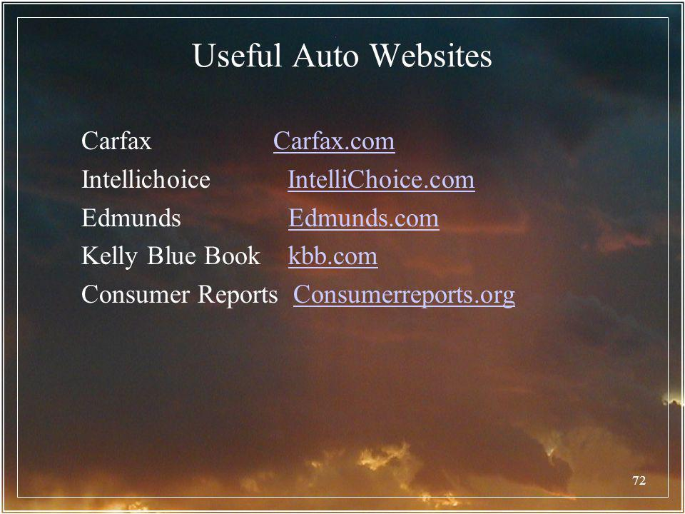 72 Useful Auto Websites Carfax Carfax.comCarfax.com Intellichoice IntelliChoice.comIntelliChoice.com Edmunds Edmunds.comEdmunds.com Kelly Blue Book kb