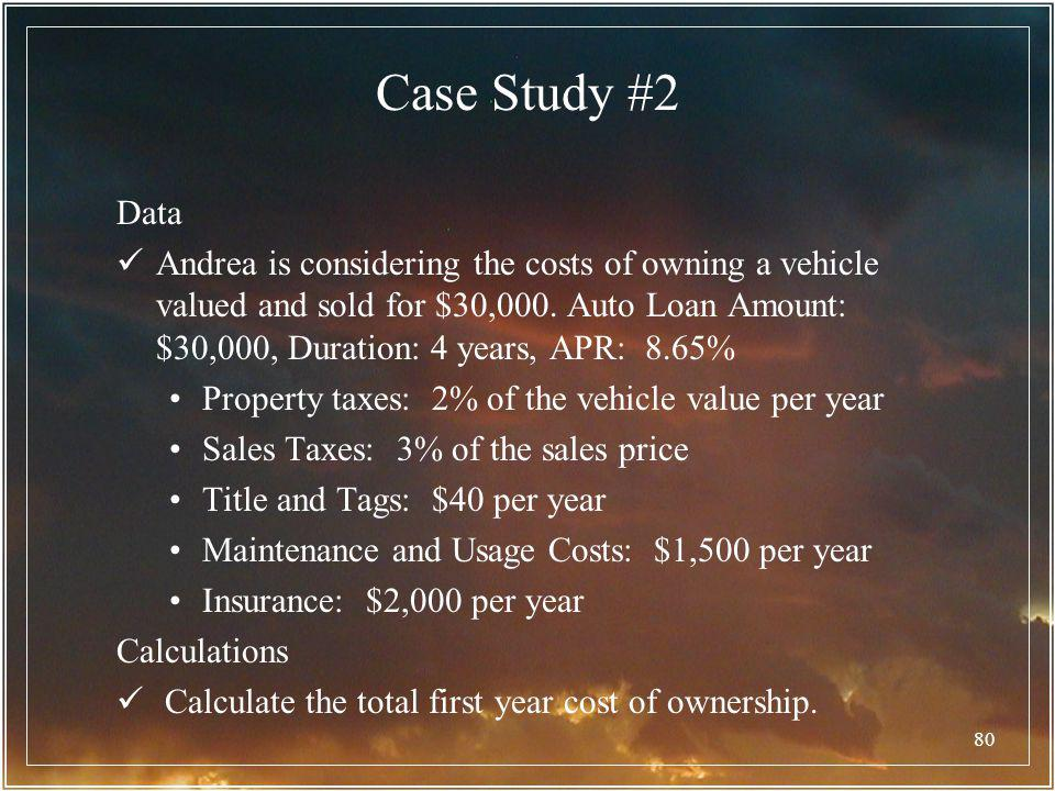 80 Case Study #2 Data Andrea is considering the costs of owning a vehicle valued and sold for $30,000. Auto Loan Amount: $30,000, Duration: 4 years, A