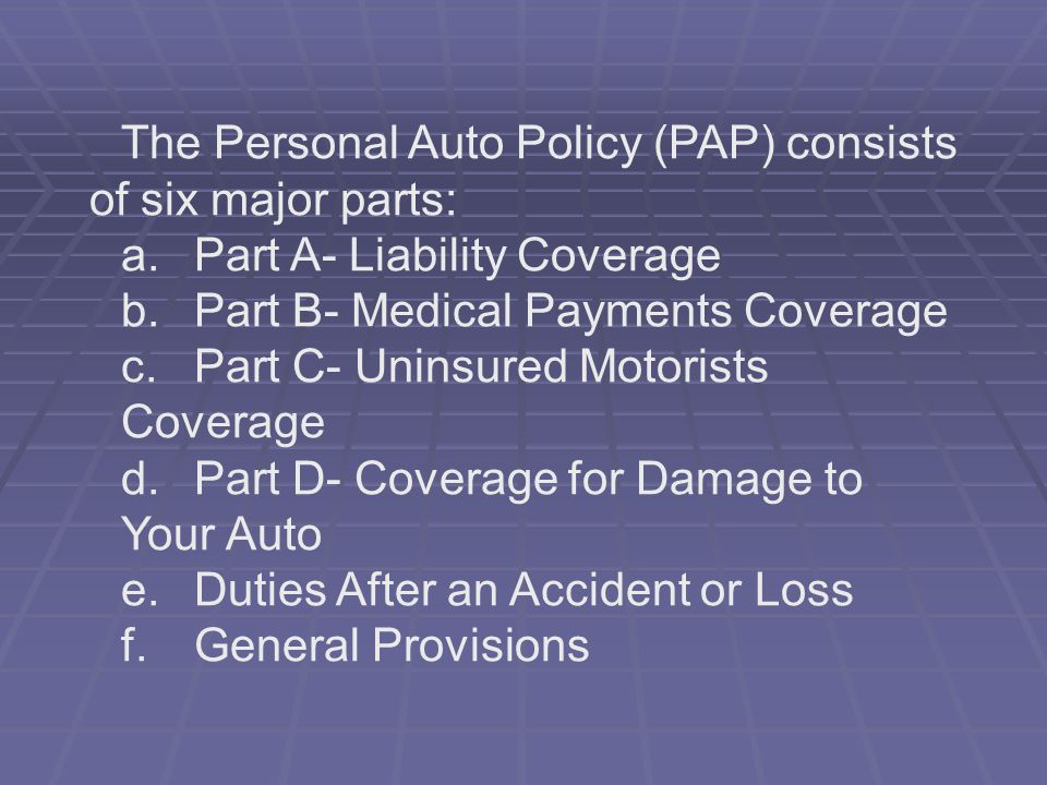 Part A- Liability Coverage