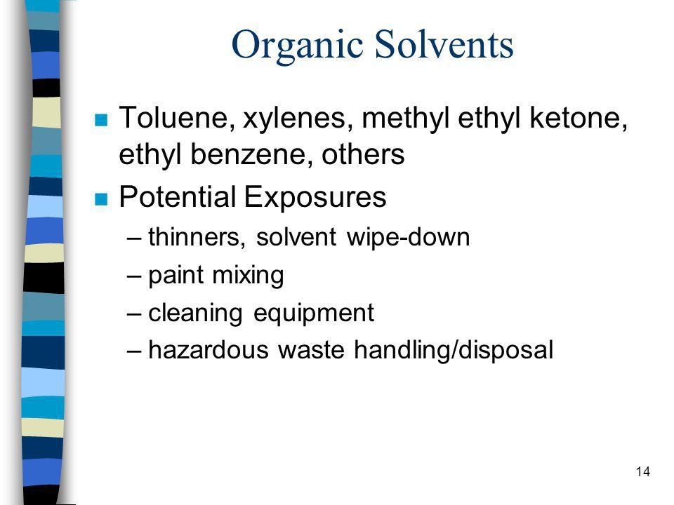 14 Organic Solvents n Toluene, xylenes, methyl ethyl ketone, ethyl benzene, others n Potential Exposures –thinners, solvent wipe-down –paint mixing –cleaning equipment –hazardous waste handling/disposal