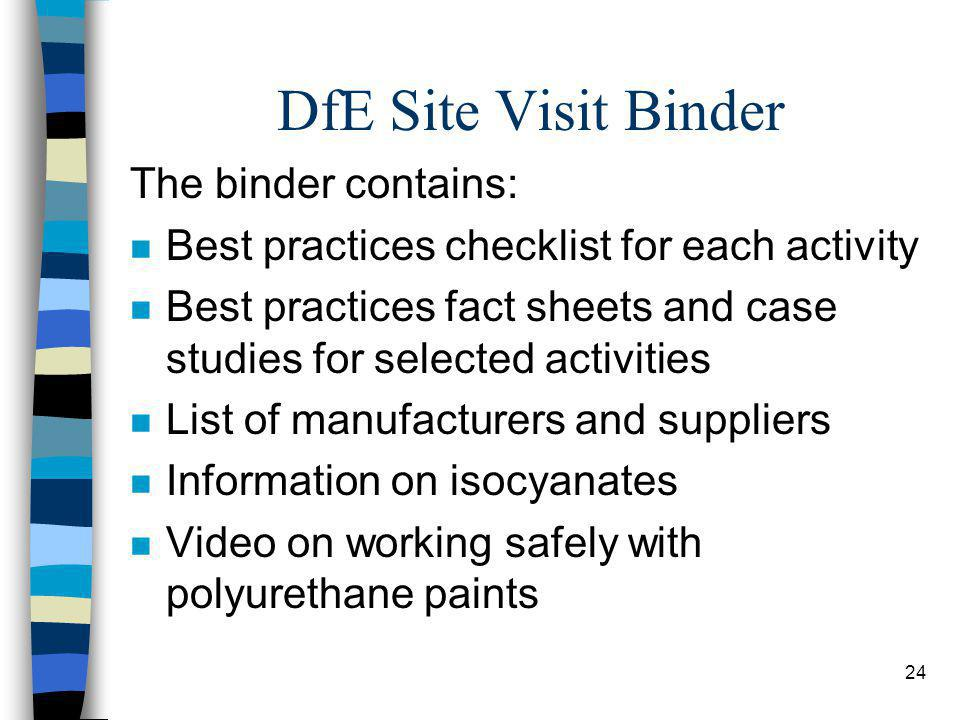 24 DfE Site Visit Binder The binder contains: n Best practices checklist for each activity n Best practices fact sheets and case studies for selected