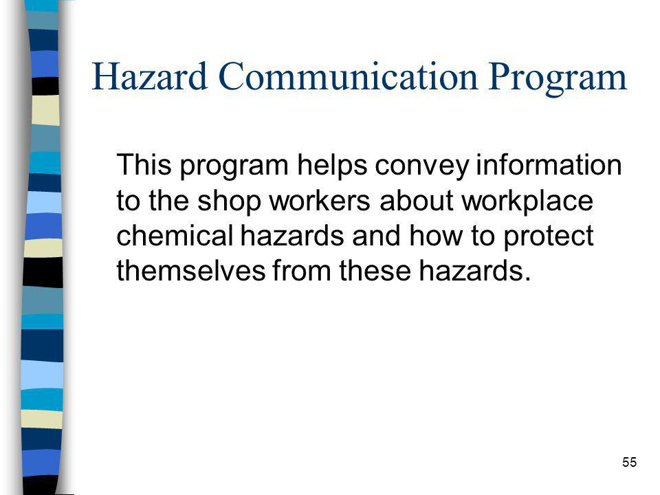 55 Hazard Communication Program This program helps convey information to the shop workers about workplace chemical hazards and how to protect themselv