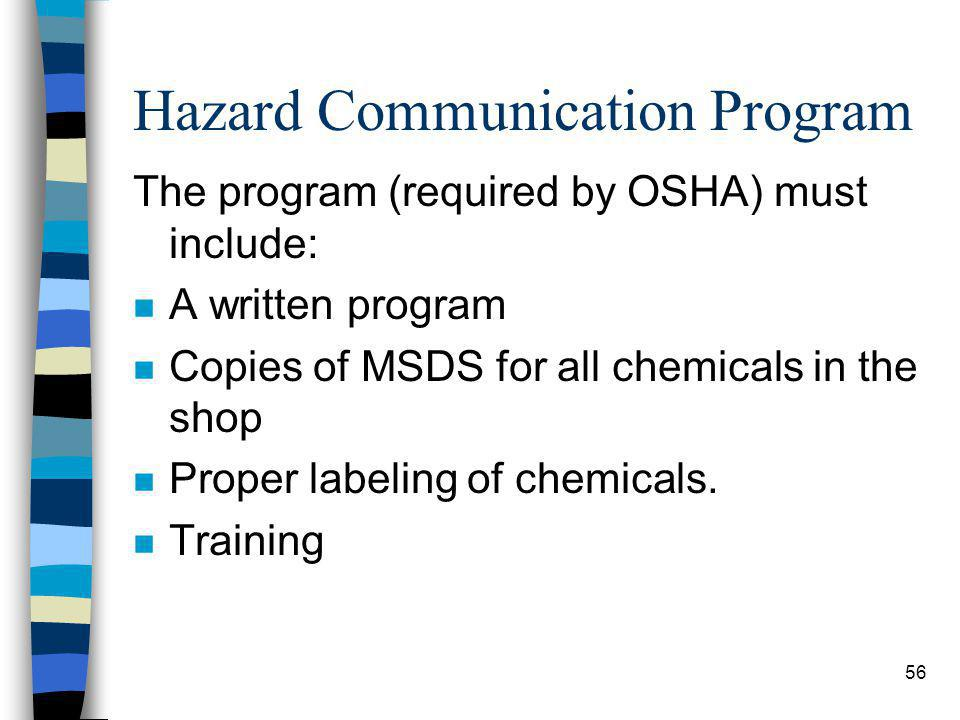 56 Hazard Communication Program The program (required by OSHA) must include: n A written program n Copies of MSDS for all chemicals in the shop n Proper labeling of chemicals.