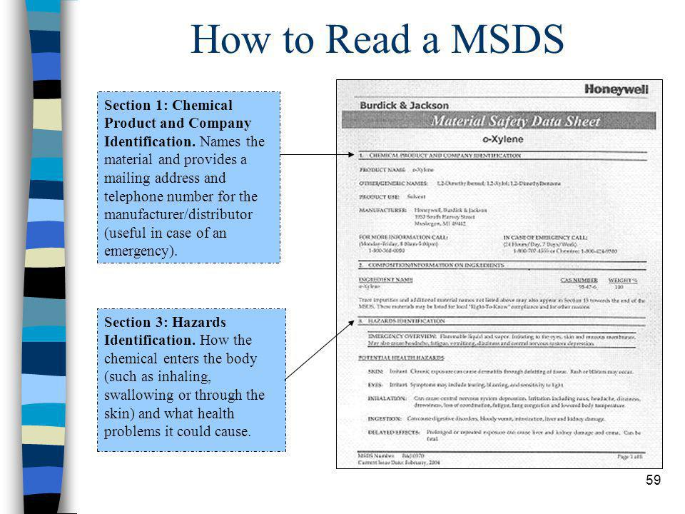59 How to Read a MSDS Section 1: Chemical Product and Company Identification. Names the material and provides a mailing address and telephone number f