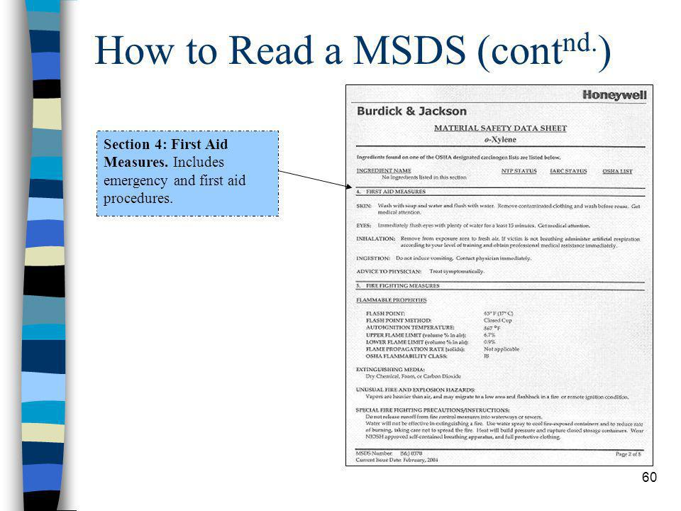 60 How to Read a MSDS (cont nd.) Section 4: First Aid Measures.