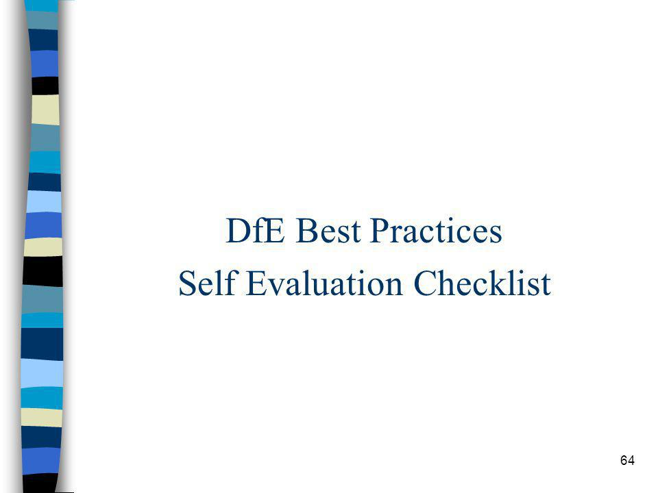 64 DfE Best Practices Self Evaluation Checklist