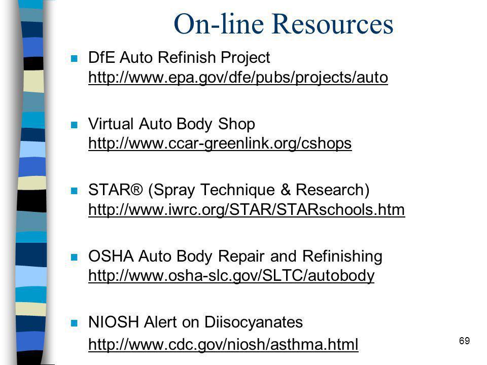 69 On-line Resources n DfE Auto Refinish Project http://www.epa.gov/dfe/pubs/projects/auto n Virtual Auto Body Shop http://www.ccar-greenlink.org/cshops n STAR® (Spray Technique & Research) http://www.iwrc.org/STAR/STARschools.htm n OSHA Auto Body Repair and Refinishing http://www.osha-slc.gov/SLTC/autobody n NIOSH Alert on Diisocyanates http://www.cdc.gov/niosh/asthma.html