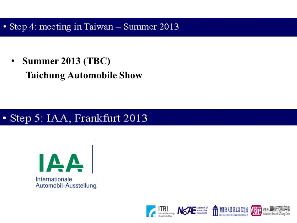 Summer 2013 (TBC) Taichung Automobile Show