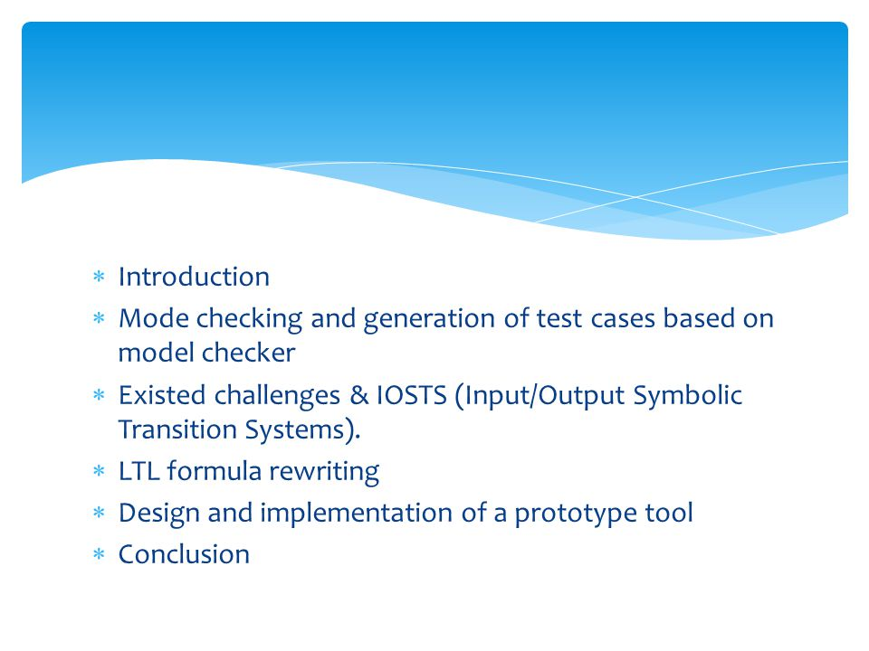 Model Checking and Test Cases Generation