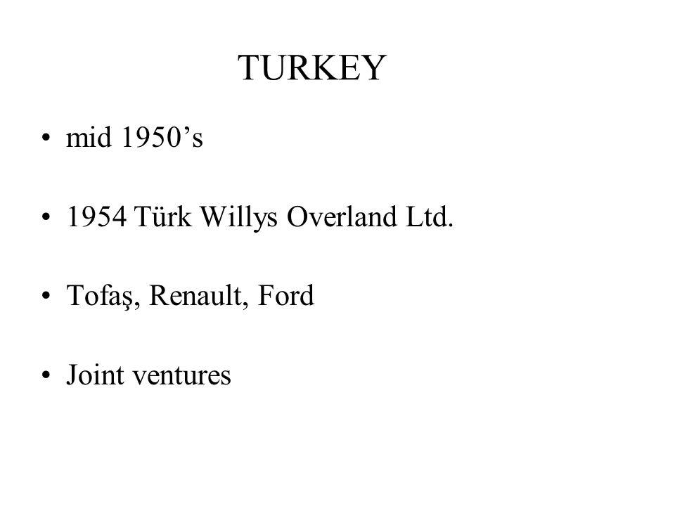 TURKEY mid 1950s 1954 Türk Willys Overland Ltd. Tofaş, Renault, Ford Joint ventures
