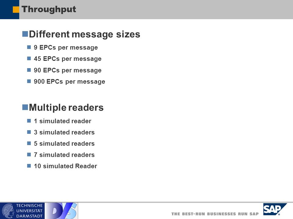 Throughput Different message sizes 9 EPCs per message 45 EPCs per message 90 EPCs per message 900 EPCs per message Multiple readers 1 simulated reader