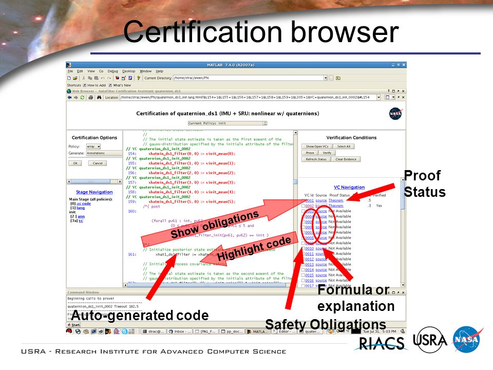 Certification browser Auto-generated code Proof Status Show obligations Safety Obligations Highlight code Formula or explanation