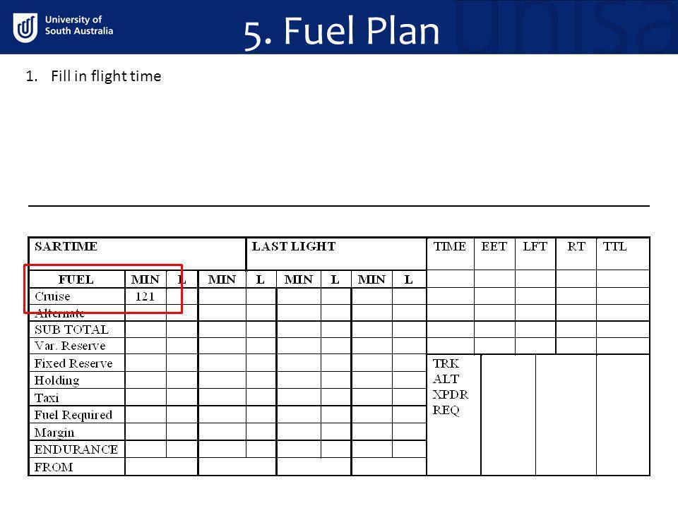 5. Fuel Plan 1.Fill in flight time