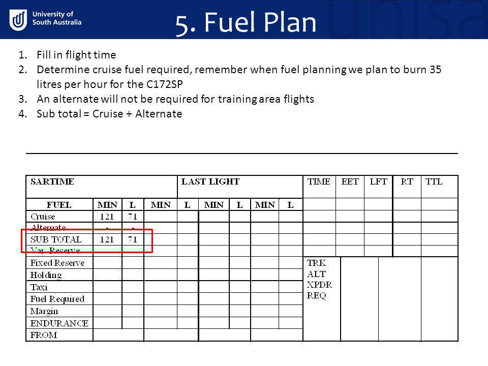 5. Fuel Plan 1.Fill in flight time 2.Determine cruise fuel required, remember when fuel planning we plan to burn 35 litres per hour for the C172SP 3.A