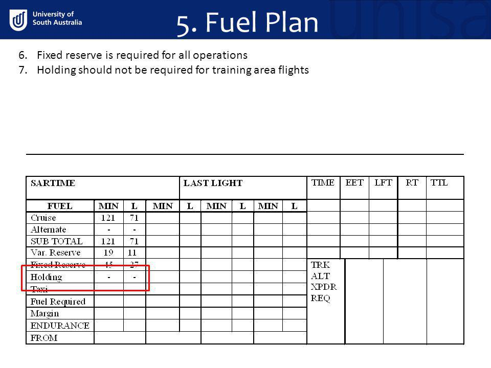 5. Fuel Plan 6.Fixed reserve is required for all operations 7.Holding should not be required for training area flights