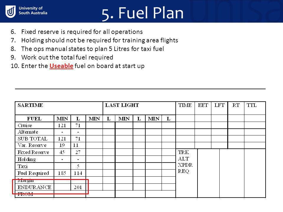 5. Fuel Plan 6.Fixed reserve is required for all operations 7.Holding should not be required for training area flights 8.The ops manual states to plan