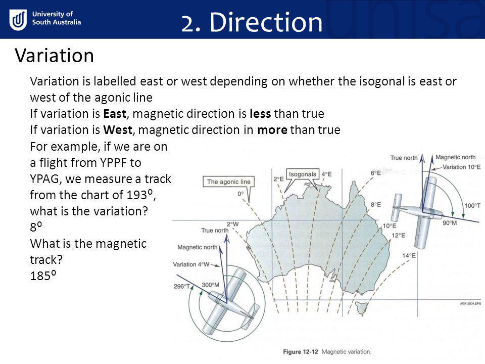 2. Direction Variation Variation is labelled east or west depending on whether the isogonal is east or west of the agonic line If variation is East, m