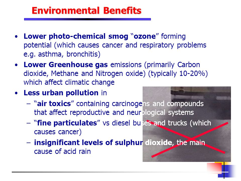 Environmental Benefits Lower photo-chemical smog ozone forming potential (which causes cancer and respiratory problems e.g. asthma, bronchitis) Lower