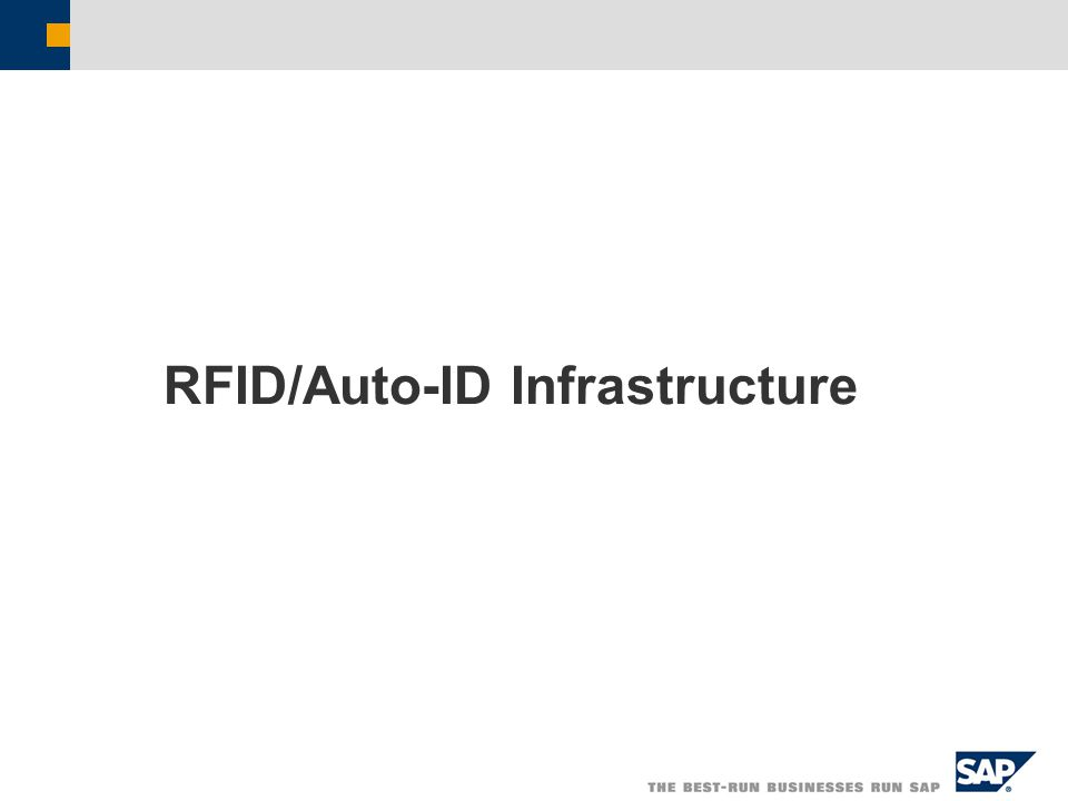 RFID/Auto-ID Infrastructure