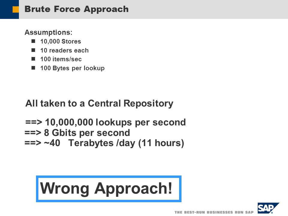 Brute Force Approach Assumptions: 10,000 Stores 10 readers each 100 items/sec 100 Bytes per lookup All taken to a Central Repository ==> 10,000,000 lookups per second ==> 8 Gbits per second ==> ~40 Terabytes /day (11 hours) Wrong Approach!