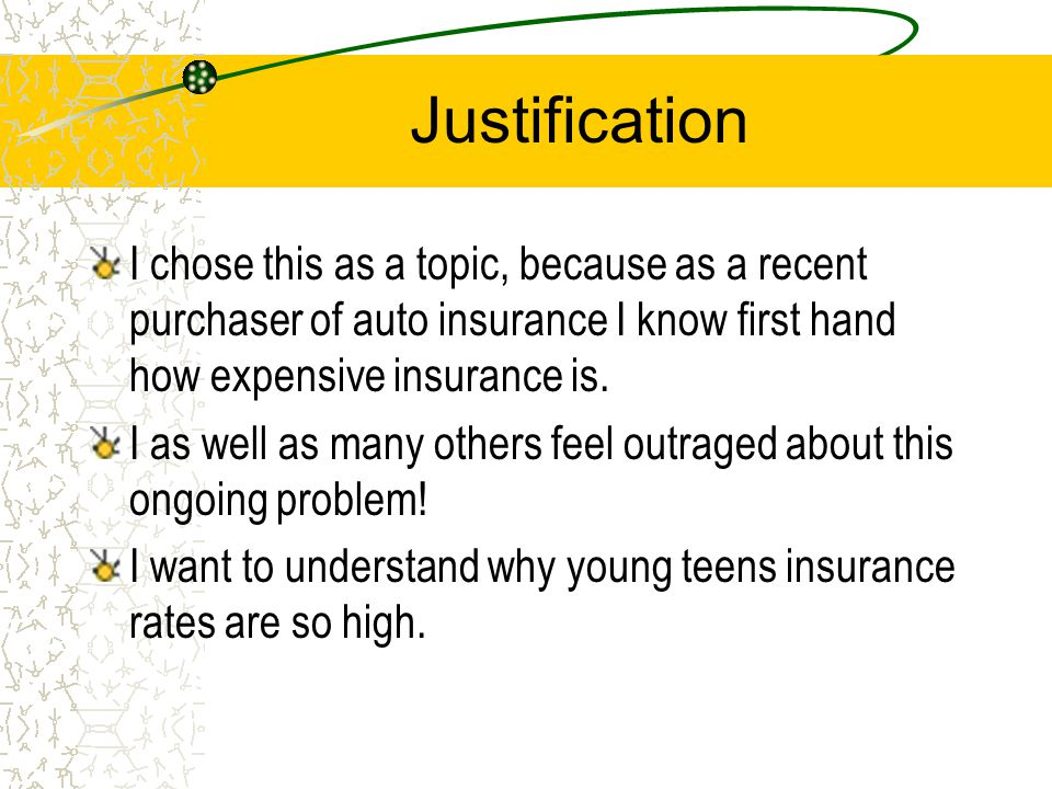 Thesis Young adolescence under the age of twenty-five are discriminated against when purchasing auto insurance. Young males are stereotyped into one m