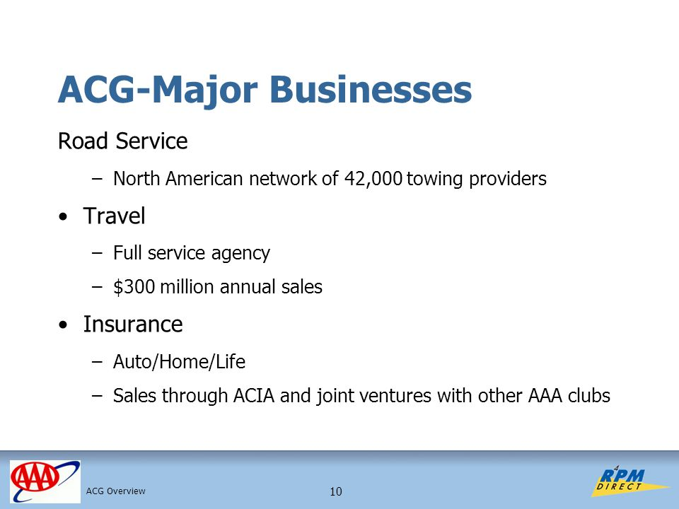 10 ACG-Major Businesses Road Service –North American network of 42,000 towing providers Travel –Full service agency –$300 million annual sales Insurance –Auto/Home/Life –Sales through ACIA and joint ventures with other AAA clubs ACG Overview