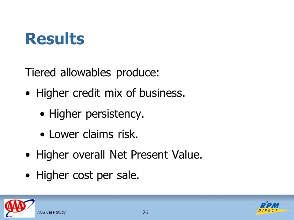 26 Results Tiered allowables produce: Higher credit mix of business.