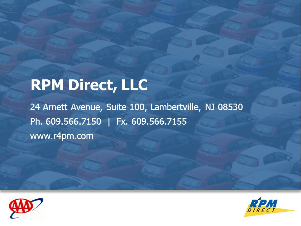 28 RPM Direct, LLC 24 Arnett Avenue, Suite 100, Lambertville, NJ 08530 Ph. 609.566.7150 | Fx. 609.566.7155 www.r4pm.com