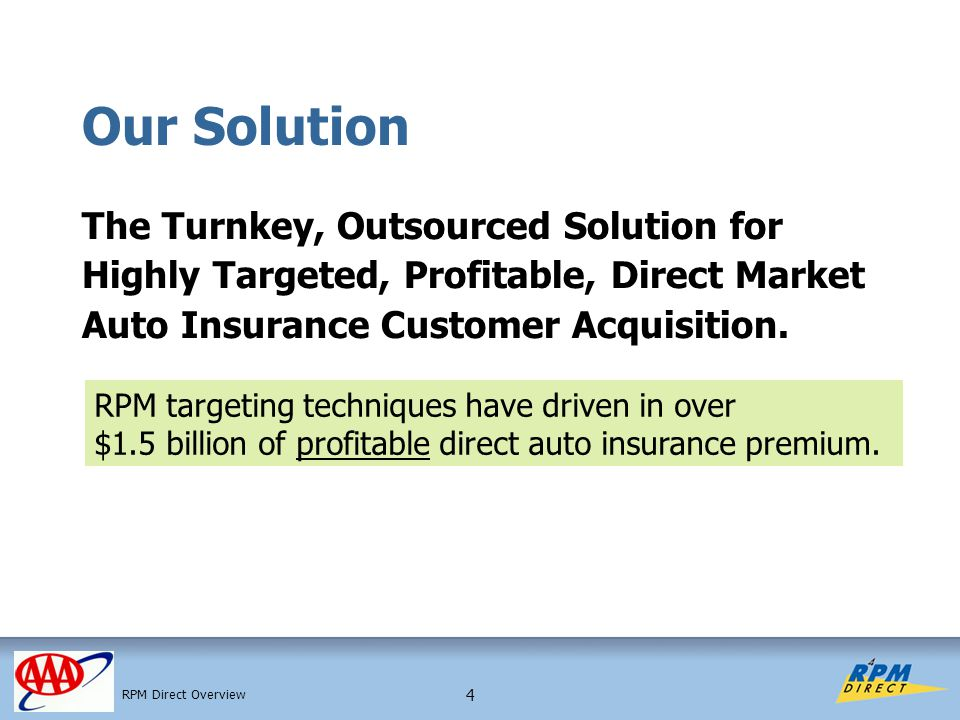 4 Our Solution The Turnkey, Outsourced Solution for Highly Targeted, Profitable, Direct Market Auto Insurance Customer Acquisition.