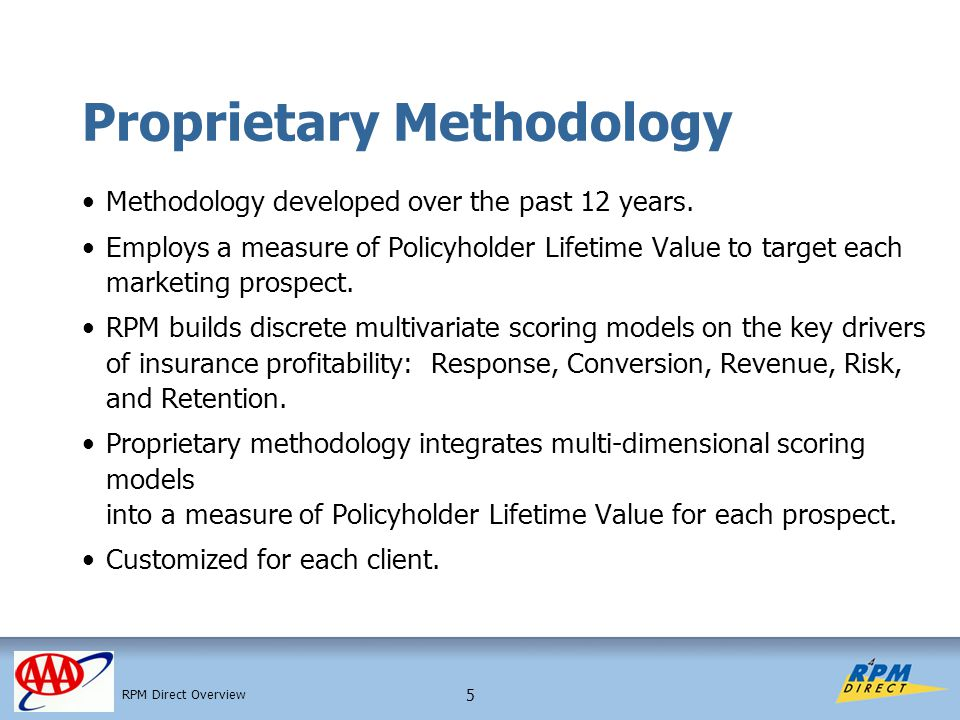 5 Proprietary Methodology Methodology developed over the past 12 years. Employs a measure of Policyholder Lifetime Value to target each marketing pros