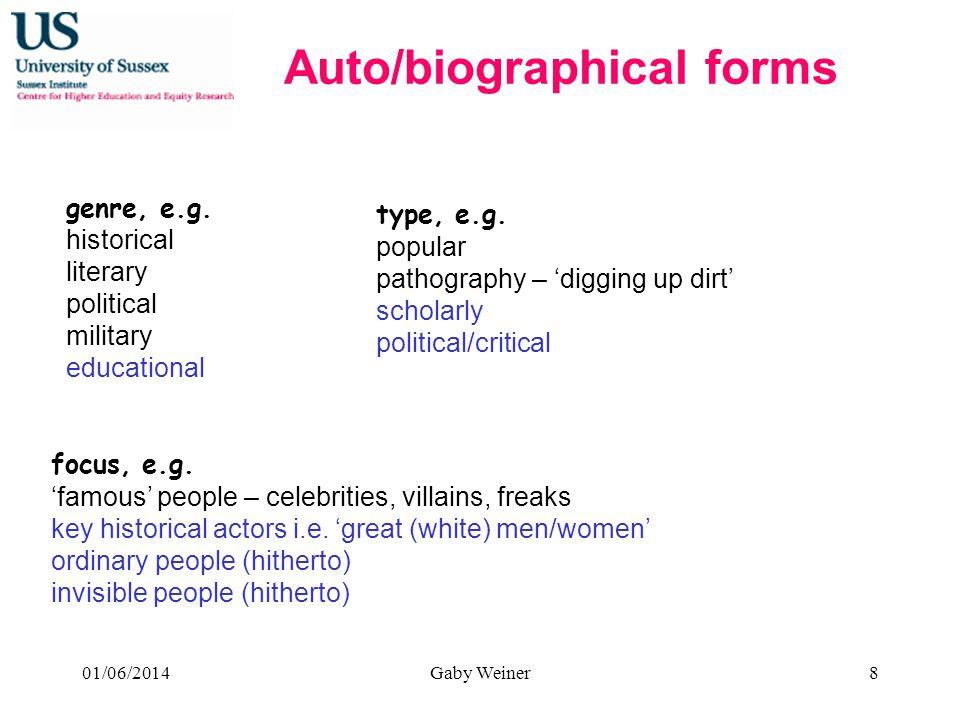 type, e.g.popular pathography – digging up dirt scholarly political/critical genre, e.g.