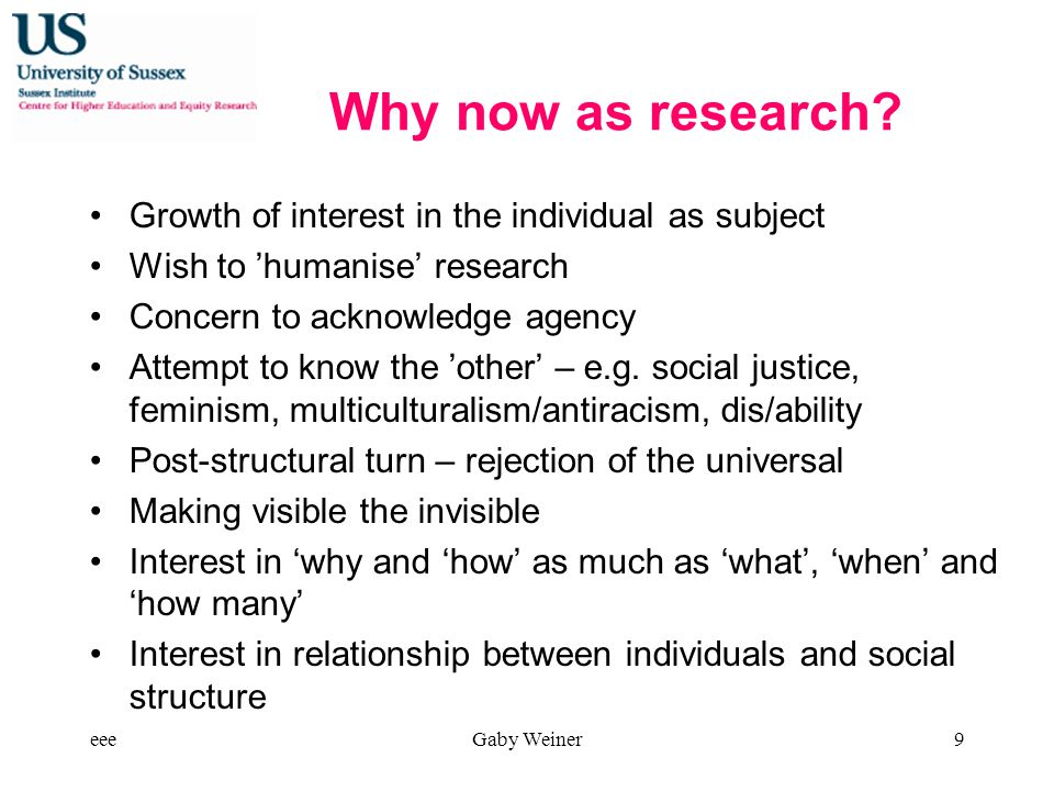 Why now as research.