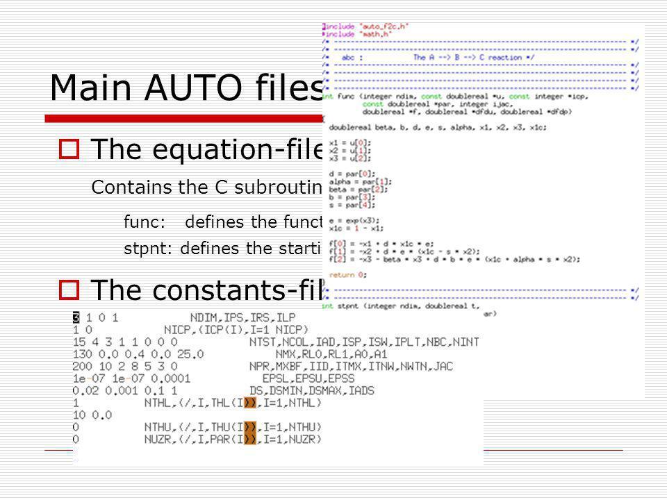 Useful commands: (using command mode) @fl lor – list Floquet multipliers in d.lor @ev abc – list eigenvalues of the Jacobian d.abc @lp xxx, @bp xxx, @hb xxx, lists limit points, branch points and hopf bifurcations, respectively.