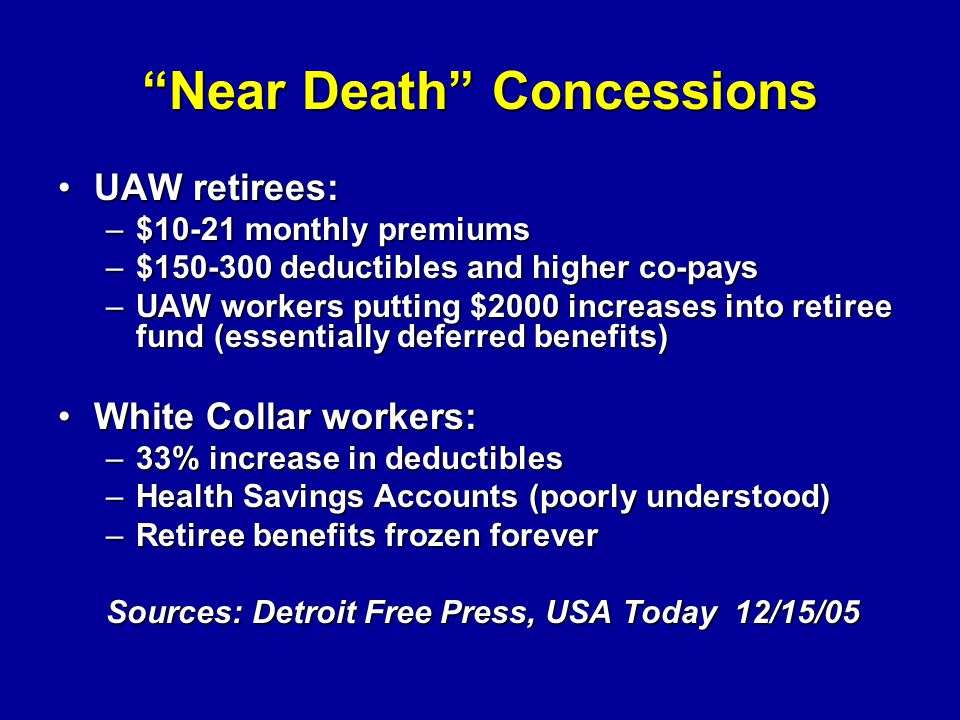 Near Death Concessions UAW retirees:UAW retirees: –$10-21 monthly premiums –$150-300 deductibles and higher co-pays –UAW workers putting $2000 increases into retiree fund (essentially deferred benefits) White Collar workers:White Collar workers: –33% increase in deductibles –Health Savings Accounts (poorly understood) –Retiree benefits frozen forever Sources: Detroit Free Press, USA Today 12/15/05